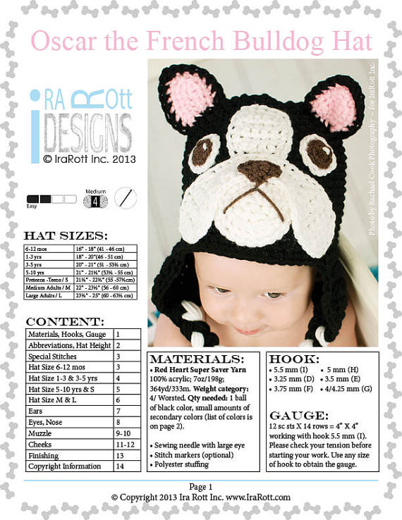 gorro crochet bulldog frances
