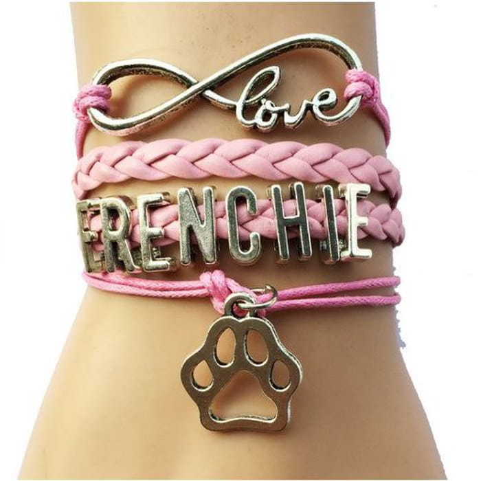 pulsera bulldog frances love frenchie rosa