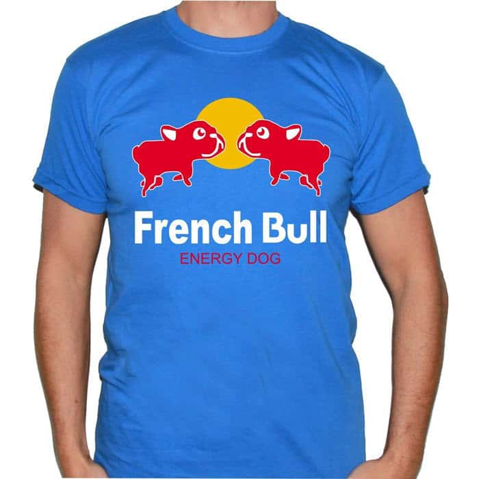 camiseta hombre bulldog frances manga corta azul energy dog frontal